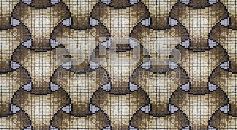 Glass Mosaic Repeating Pattern Module Oval Rattan