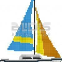 Glass Tile Figure for Interior / Exterior Facing: Sailboat