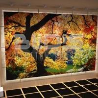 Glass Tile Mosaic Mural: Golden Autumn - lobby