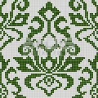 Glass Mosaic Repeating Pattern Module: Green Tribal
