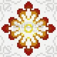 Glass Mosaic Repeating Pattern Module: Red Diamonds