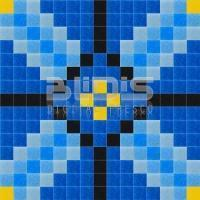 Glass Mosaic Repeating Pattern: Blue Tracery Xs - pattern