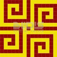 Glass Mosaic Repeating Pattern: Red-Yellow Spirals - pattern