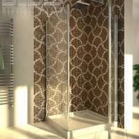 Glass Mosaic Repeating Pattern: Brown Tracery - shower