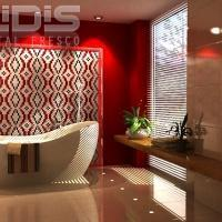 Glass Tiles Repeating Pattern: Red Path - bathroom