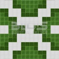 Glass Mosaic Repeating Pattern for Decorative Facing: Green Puzzle - pattern