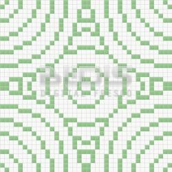 Glass Mosaic Repeating Pattern Module: Green Circles