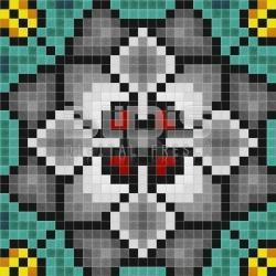 Glass Mosaic Repeating Pattern Module: Gray Flowers