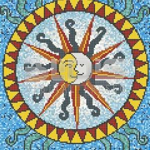 Glass Tile Medallion Sun and Moon