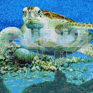 Glass Tile Mural: Water Turtle