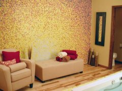 Glass mosaic mural for living room.