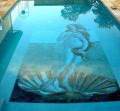Glass tiles mural for bottom of the pool.